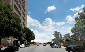 View of East 5th Street, with elevated freeway removed